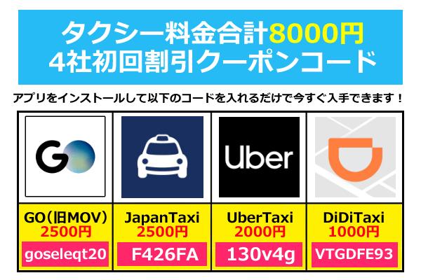 MOV(モブ)他タクシークーポンコード初回限定合計8000円分