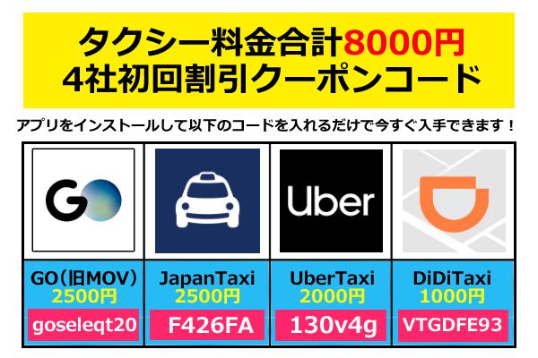 Uber taxi(ウーバータクシー)とMOV、他クーポン併用で初回8000円無料プロモーションコード