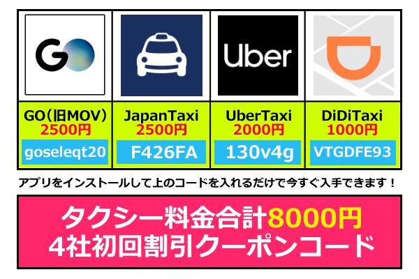 didiや他配車アプリクーポンコードで合計8000円無料