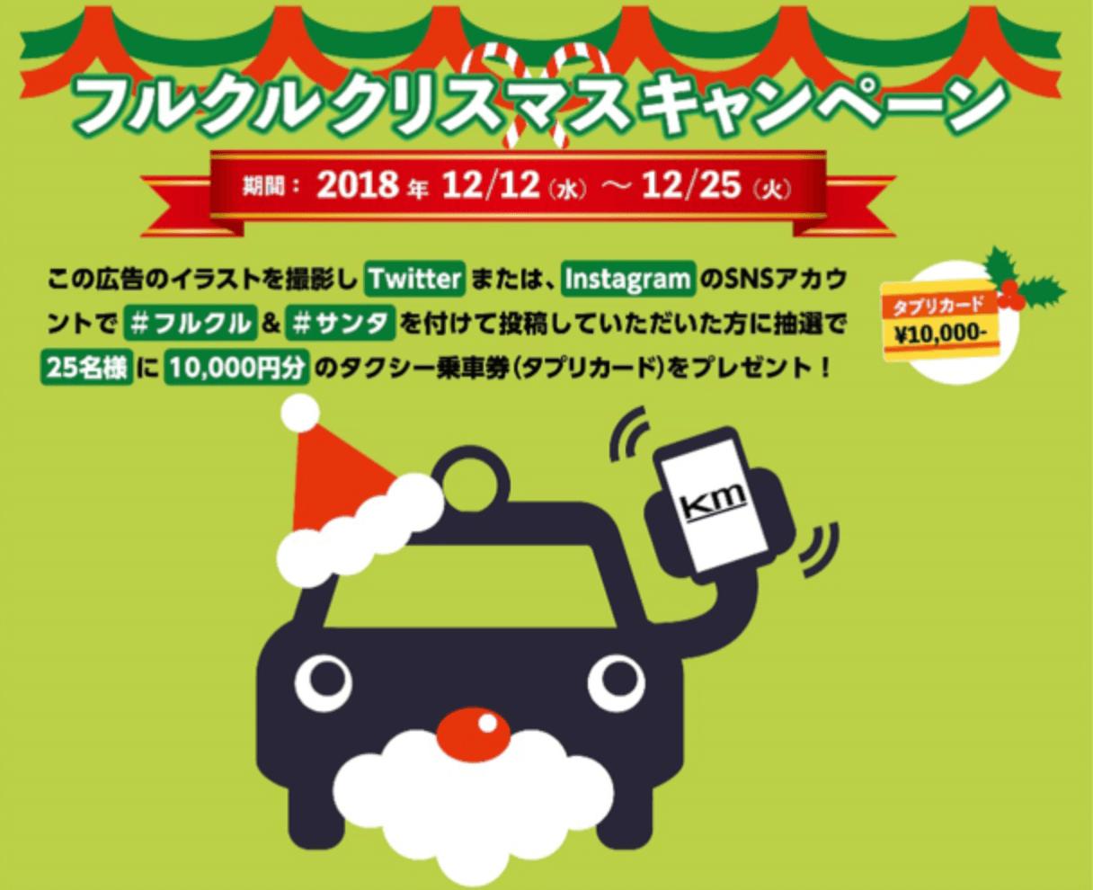 フルクルクーポンキャンペーン(タクシー乗車券タプリカード)10000円分プレゼント