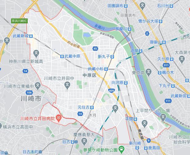 menu/メニュー神奈川県川崎市の配達エリア中原区