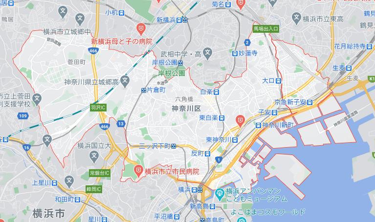 menu/メニュー神奈川県横浜市の配達エリア神奈川区