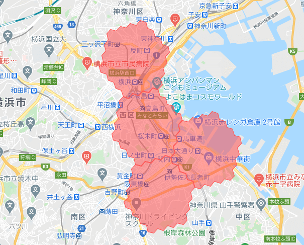 menu/メニュー神奈川県横浜市の配達エリア西区