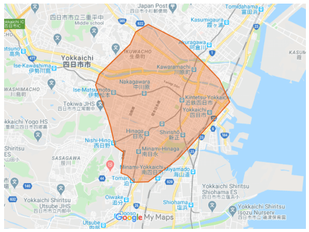 Uber Eats(ウーバーイーツ)の四日市(三重県)の対応エリア