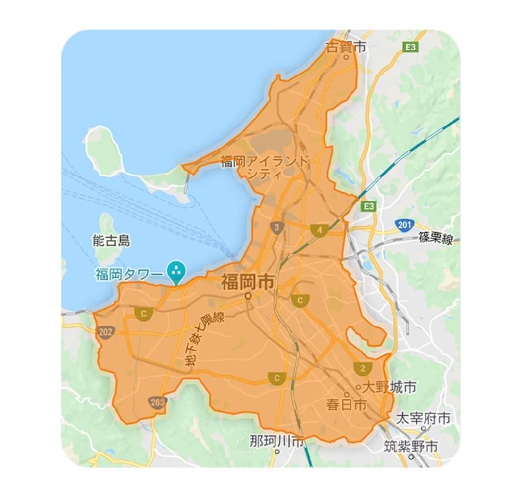 福岡DiDiフードの配達エリア・対応地域