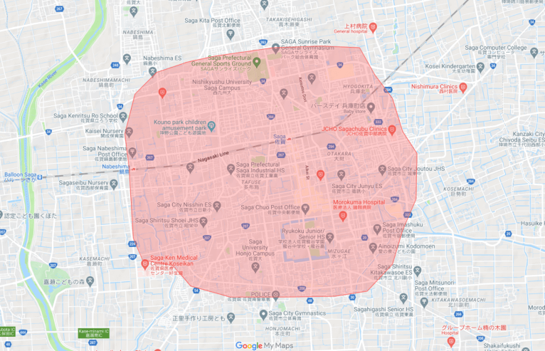 Uber Eats(ウーバーイーツ)佐賀の配達エリア、対応地域詳細