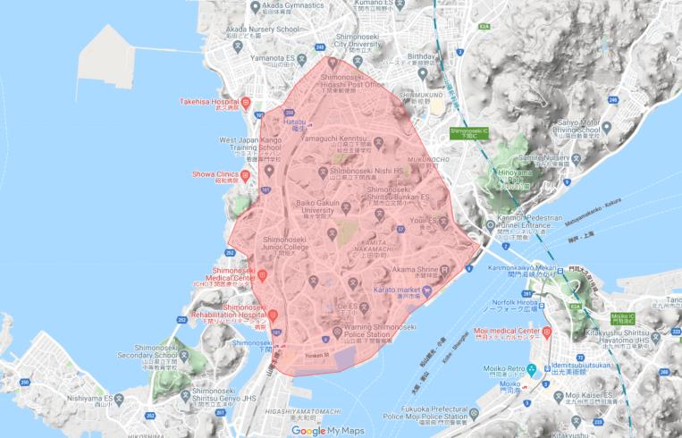 Uber Eats(ウーバーイーツ)山口・下関の配達エリア、対応地域詳細