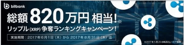 bitbank(ビットバンク)キャンペーン【総額約820万円相当のリップル(XRP)争奪キャンペーン】