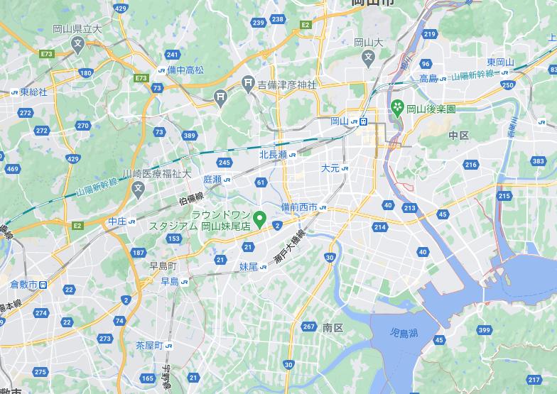 岡山のフードパンダ配達エリア・対応地域