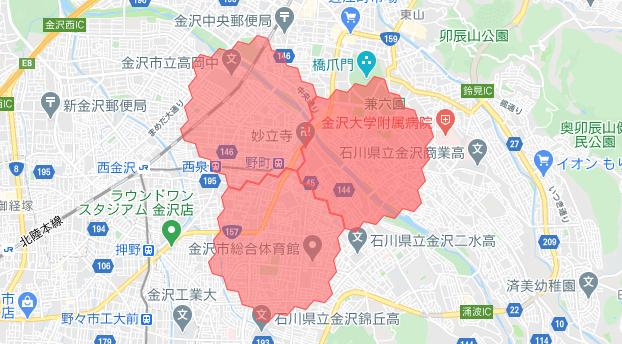 金沢・石川menu配達員の配達エリア
