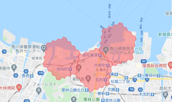 menu高松・香川の配達エリア・対応地域詳細