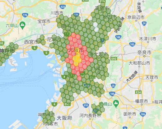 menu(メニュー)大阪の配達エリアマップ