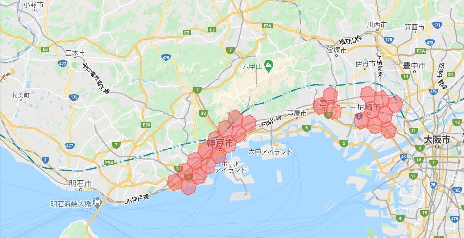 神戸・兵庫menu配達員の配達エリア