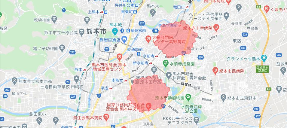 熊本menu配達員の配達エリア【2021年2月8日拡大エリア(熊本市中央区)】