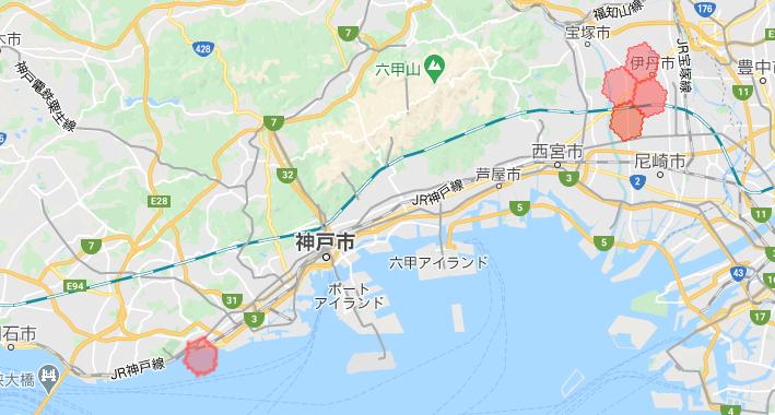 神戸・兵庫menu配達員の配達エリア【2021年3月8日拡大エリア(伊丹市)】