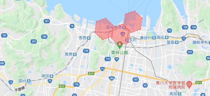 高松・香川menu配達員の配達エリア