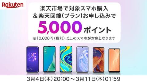 楽天モバイルクーポン・キャンペーン5000ポイントプレゼント