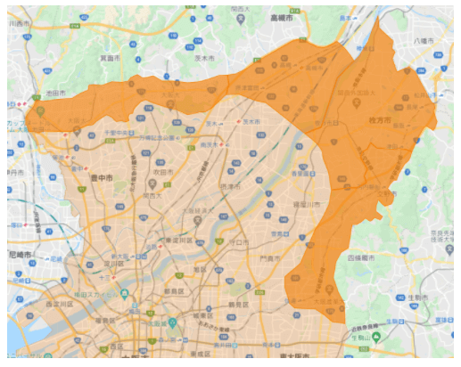 DiDiフード大阪2021年4月9日拡大エリア