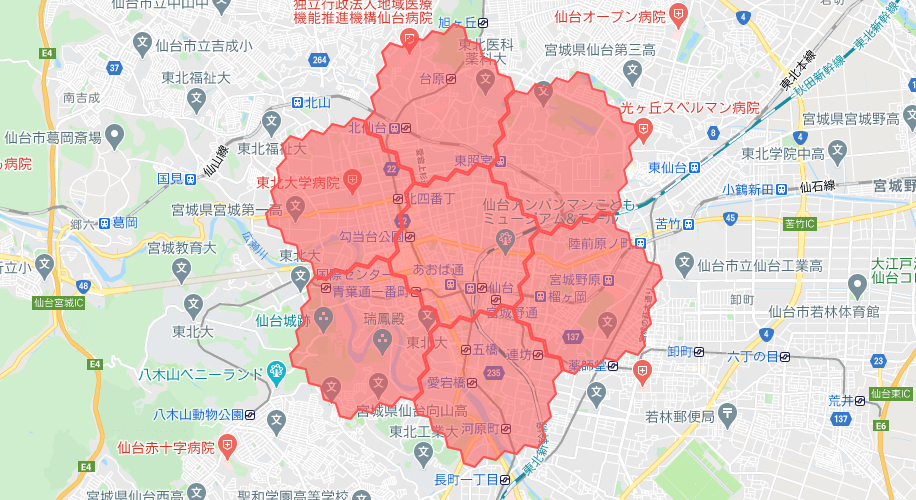 menu(メニュー)仙台の配達エリアマップ