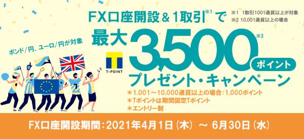 ネオモバFX(SBIネオモバイル証券)キャンペーン【3500Tポイントプレゼント・FX口座開設&取引】