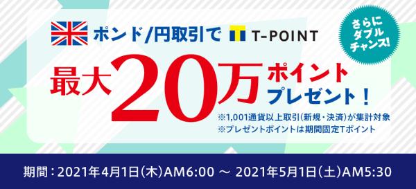 ネオモバFX(SBIネオモバイル証券)キャンペーン【最大200000Tポイントプレゼント・ポンド/円取引】