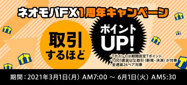 ネオモバFX(SBIネオモバイル証券)キャンペーン【月最大200000Tポイントプレゼント・1周年記念キャンペーン】