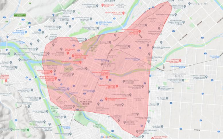 Uber Eats(ウーバーイーツ)旭川エリアの配達対応地域【】