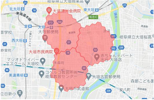 menu(メニュー)岐阜県の配達エリアマップ