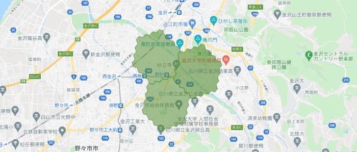 menu(メニュー)石川県の配達エリアマップ