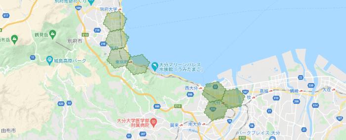 menu(メニュー)大分県の配達エリアマップ