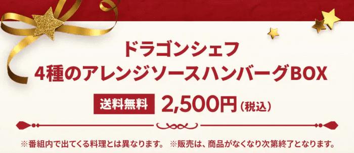 出前館クーポン・キャンペーン【送料無料アレンジソースハンバーグ・ドラゴンシェフキャンペーン】