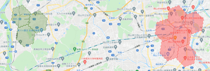 menu岡山の配達エリア・対応地域詳細